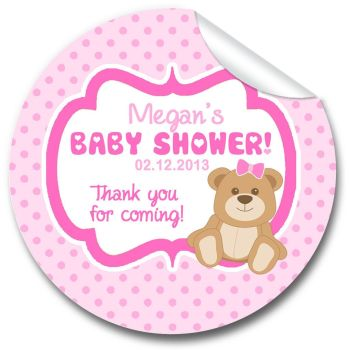 Teddy Bear Pink Personalised Baby Shower Party Favours Stickers