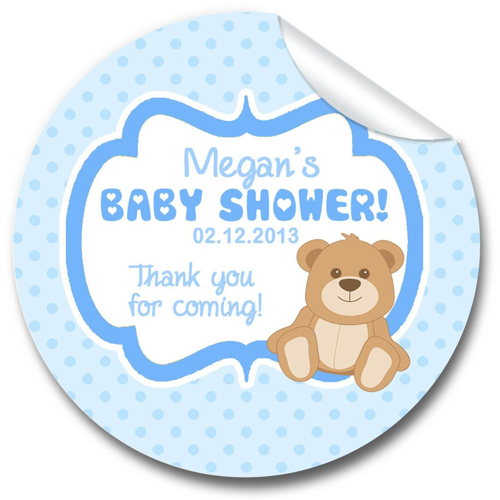 Bear Blue Baby Shower Party Favours Stickers,  Personalised 1xA4 sheet