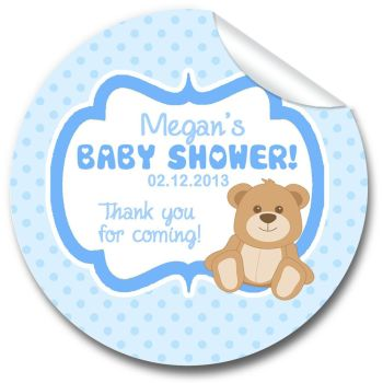 Teddy Bear Blue Personalised Baby Shower Party Favours Stickers