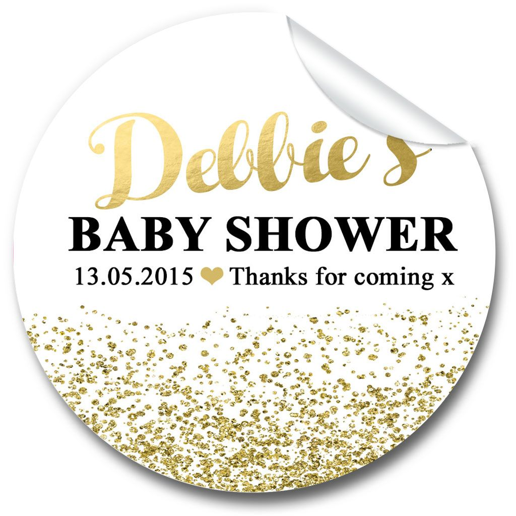 Gold Glitter Confetti Baby Shower Party Favours Stickers, Personalised 1xA4