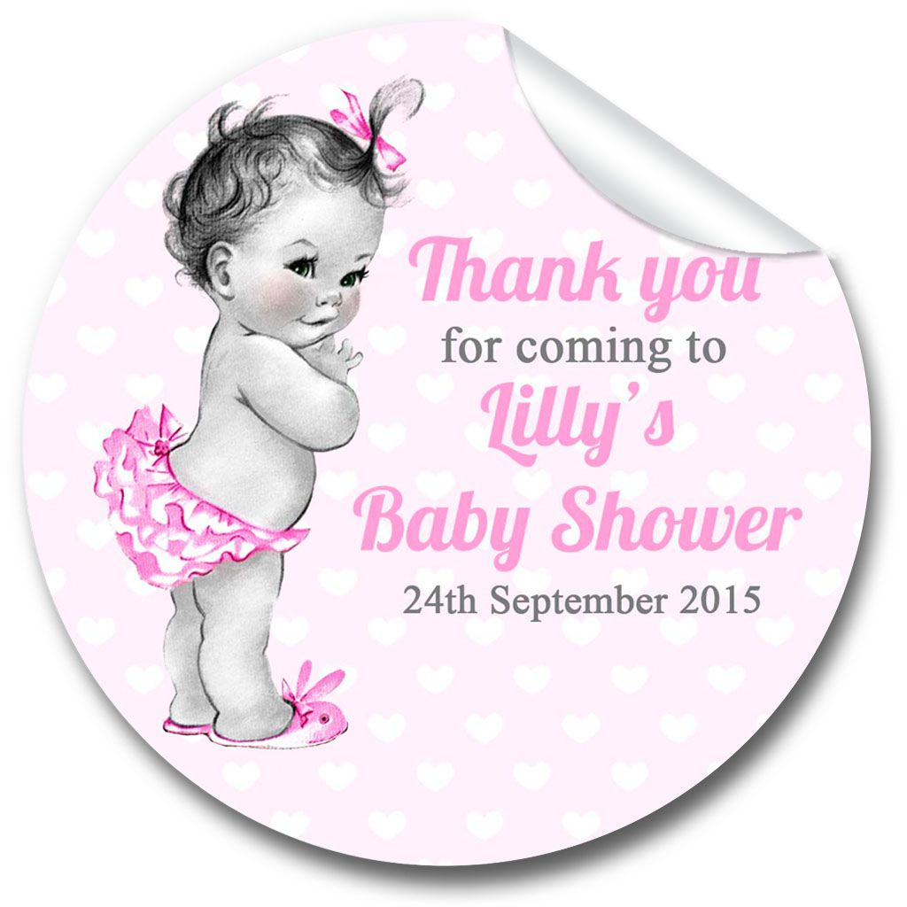 Baby Girl Vintage Baby Shower Party Favours Stickers,  Personalised 1xA4 sh