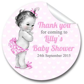 Vintage Baby Girl Personalised Baby Shower Party Favours Stickers