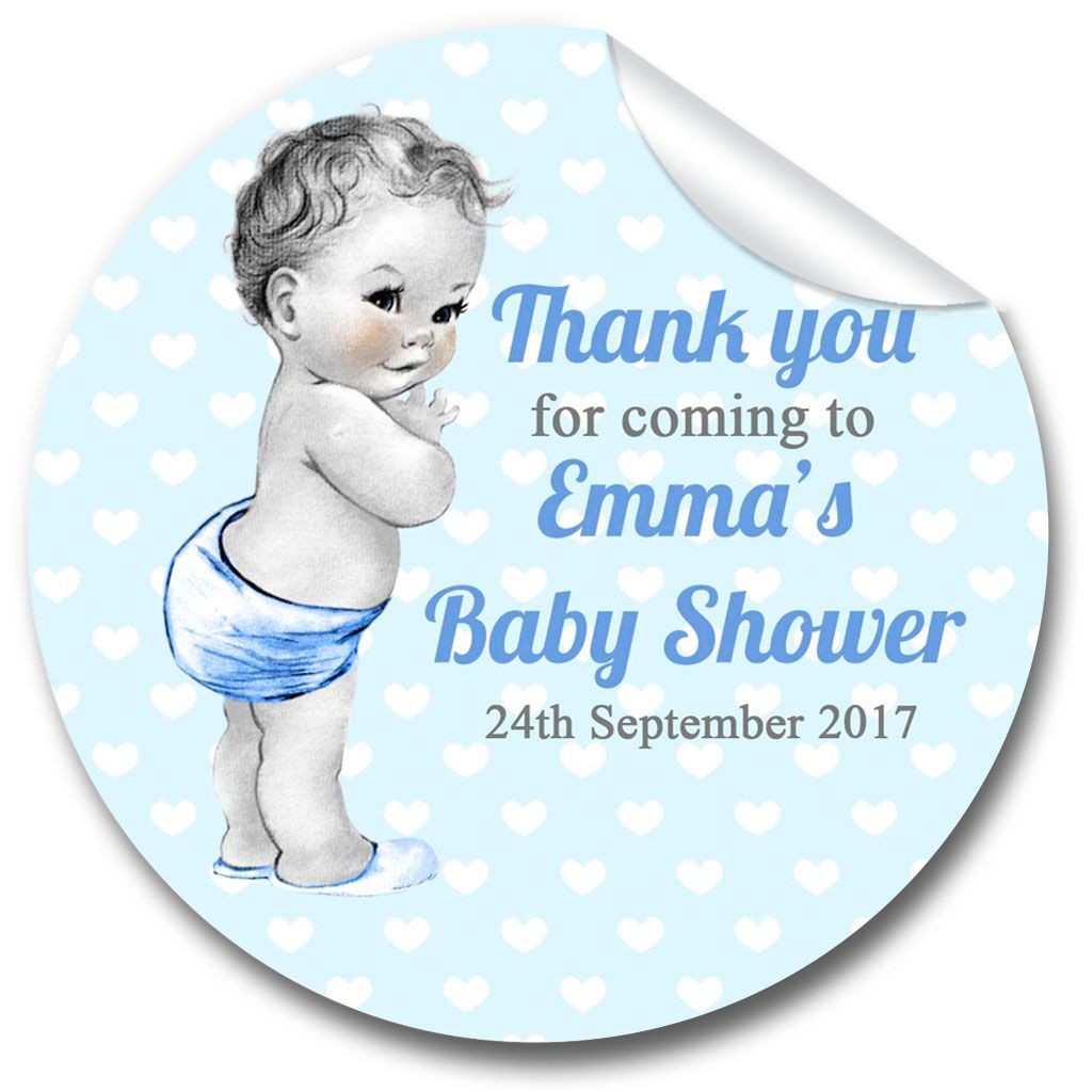 Baby Boy Vintage Baby Shower Party Favours Stickers,  Personalised 1xA4 she