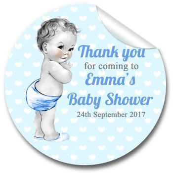 Vintage Baby Boy Personalised Baby Shower Party Favours Stickers