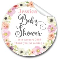 Jessica Watercolour Florals Personalised Baby Shower Party Favours Stickers