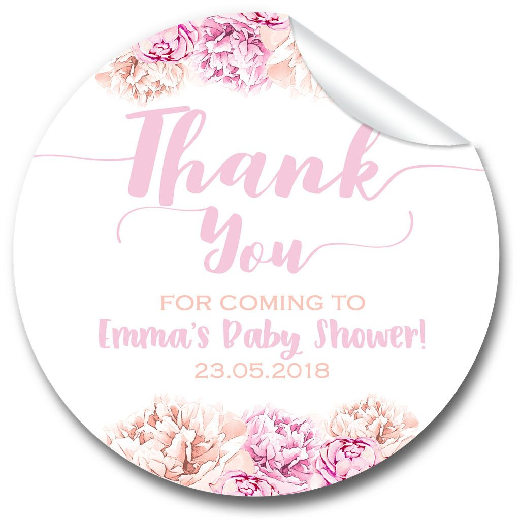 Thank You Florals Baby Shower Party Favours Stickers