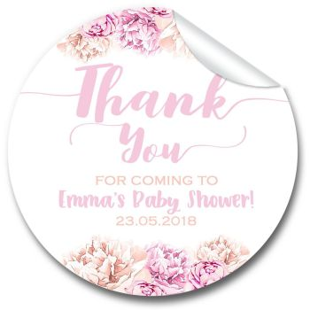 Thank You Florals Personalised Baby Shower Party Favours Stickers