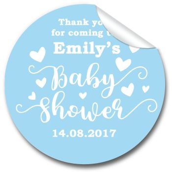 Love Hearts Blue Personalised Baby Shower Party Favours Stickers