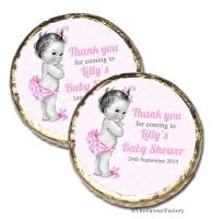 50x Vintage baby girl Personalised Baby Shower Party Favours Mint Chocolates