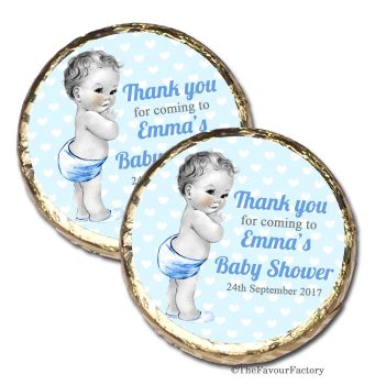 50x Vintage baby boy Personalised Baby Shower Party Favours Mint Chocolates