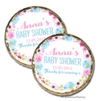 50x Anna Florals Personalised Baby Shower Welcoming Party Mint Chocolates