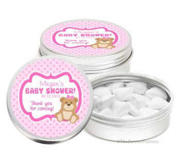 Teddy Bear Pink Personalised Baby Shower Party Favours Keepsake Tins x1