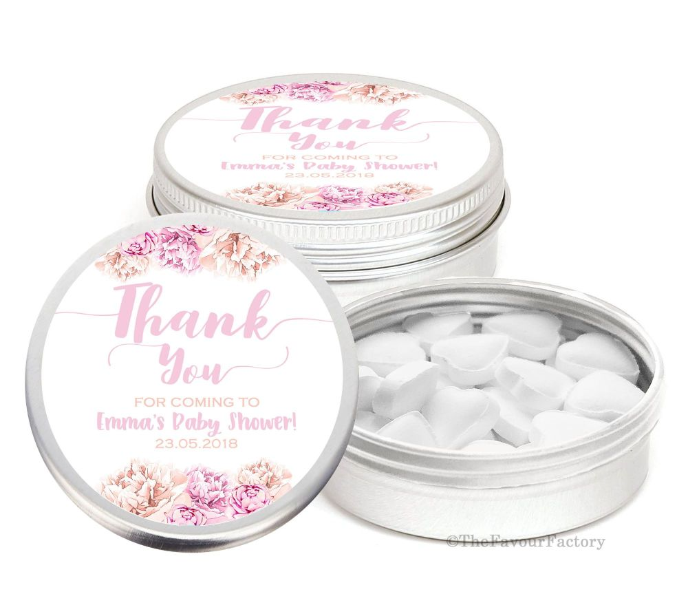 Anna Florals Personalised Baby Shower Favour Tins Keepsakes x1