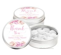 Thank You Florals Personalised Baby Shower Favour Tins Keepsakes x1
