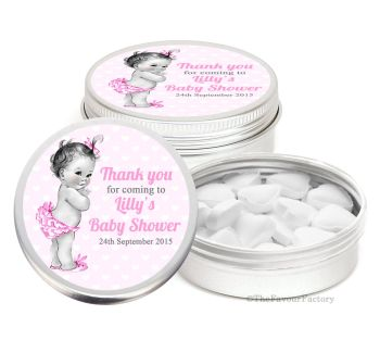 Vintage Baby Girl Personalised Baby Shower Favour Tins Keepsakes x1