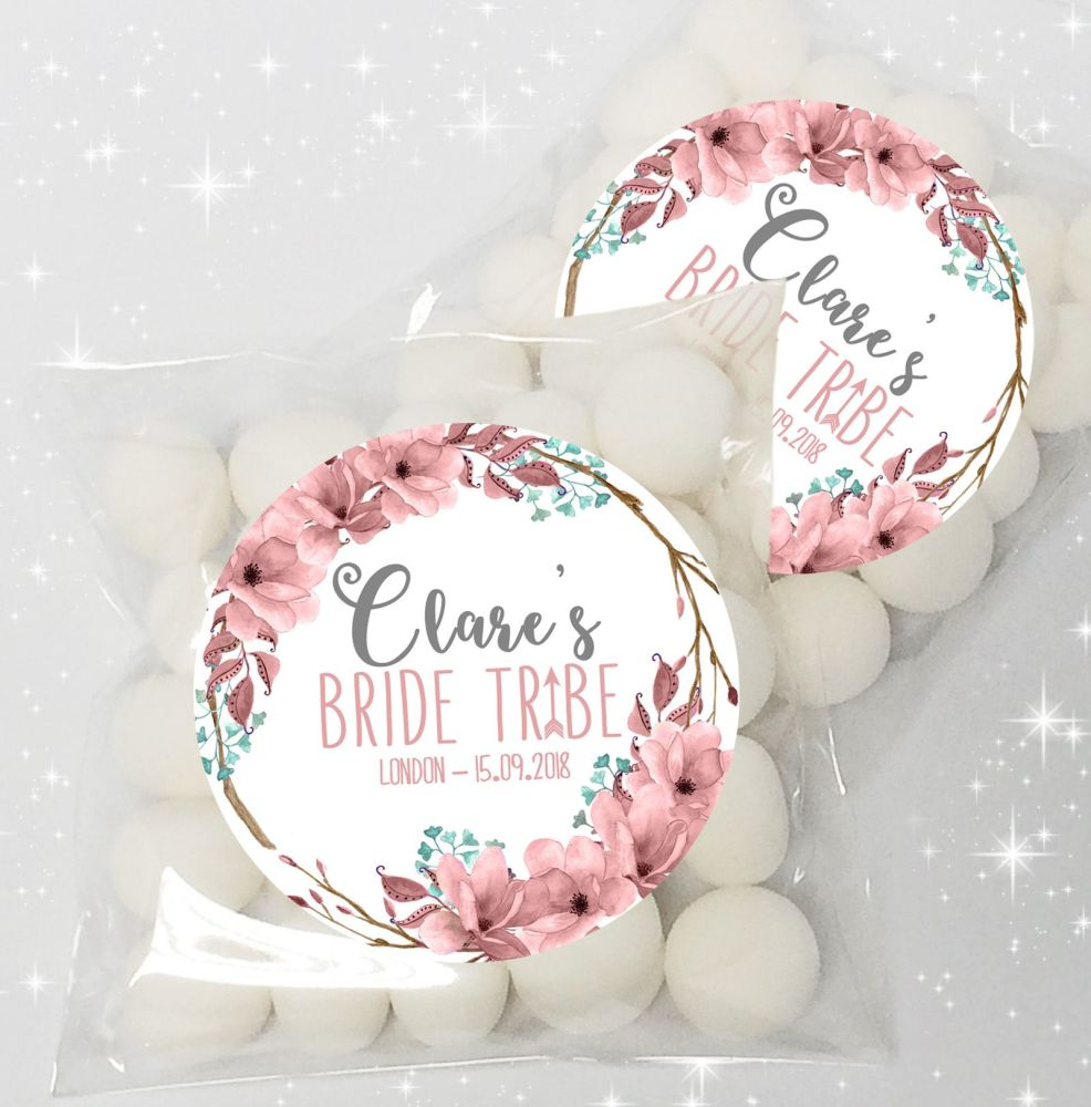 Bride Tribe Boho Floral Wreath Personalised Hen party sweet bags kits x12
