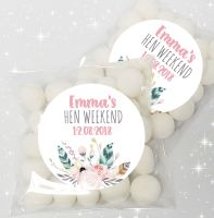 Boho Feathers Wreath Personalised Hen Party Sweet Bags & Stickers