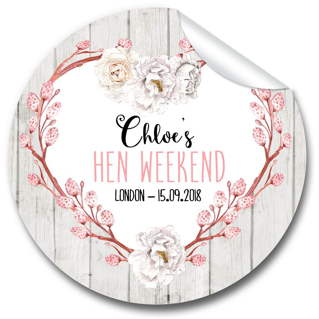 Chloe Floral Heart Personalised Hen Night Party Bag Stickers, 1 x A4 sheet