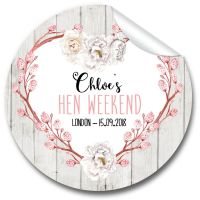 Rustic Floral Heart Personalised Hen Night Party Bag Stickers, 1 x A4 sheet