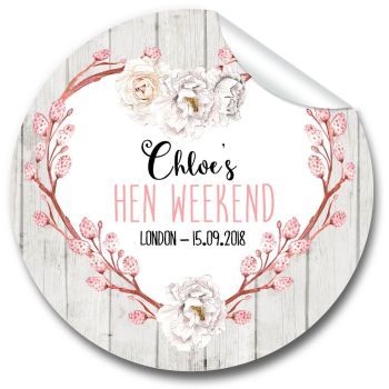 Chloe Rustic Floral Heart Personalised Hen Night Party Bag Stickers