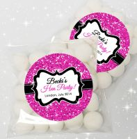Hot Pink Glitter Personalised Hen Party Sweet Bags & Stickers