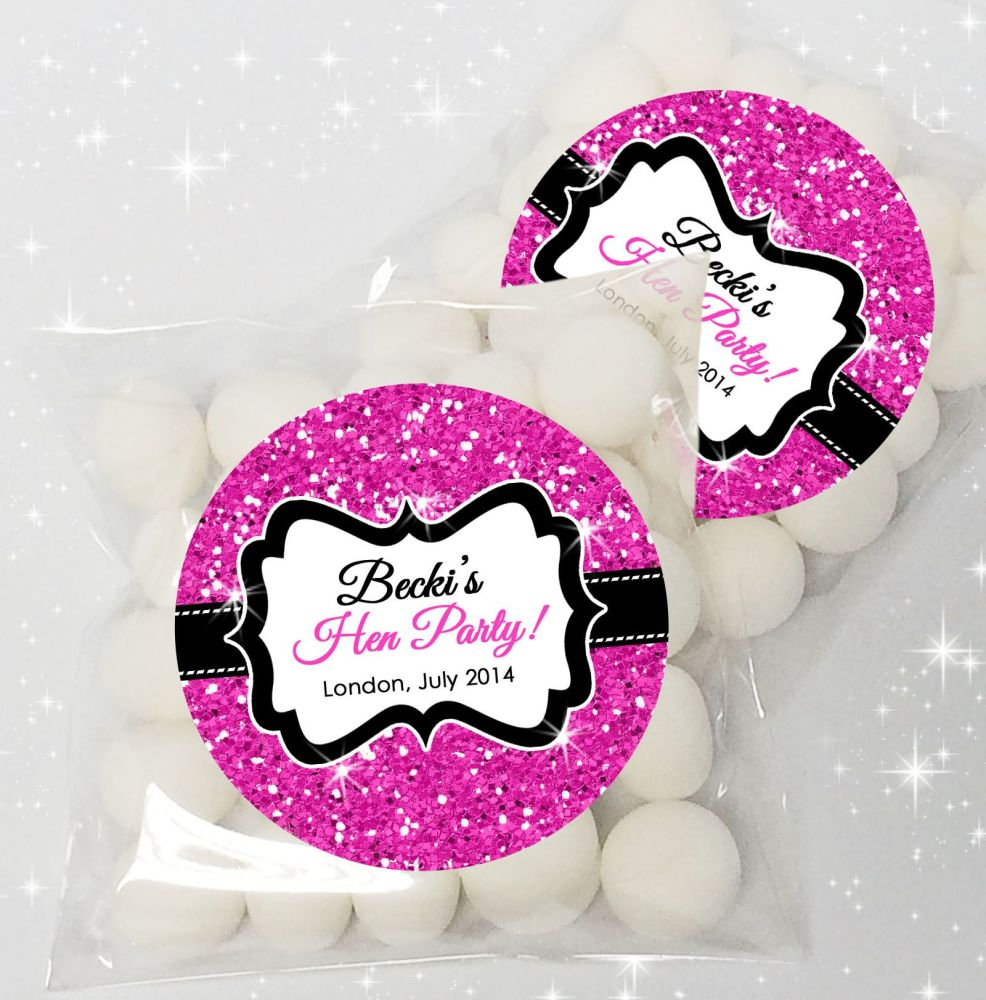 Glitter Effect Personalised HEN NIGHT party sweet bags favours KIT x12