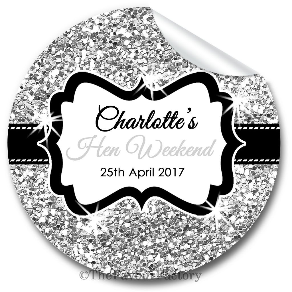 Silver Glitter Personalised Hen Night Party Stickers