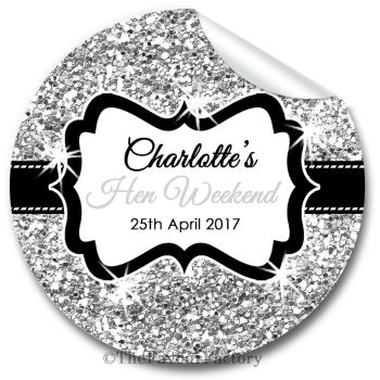 Silver Glitter Personalised Hen Night Party Bag Stickers