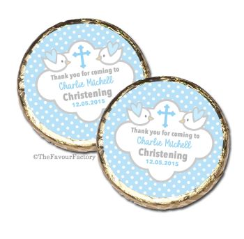 Doves Blue Christening Baptism Mint Chocolates Favours x10