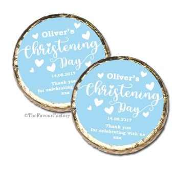 Love Hearts Blue Christening Baptism Mint Chocolates Favours x10