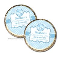 Booties Blue Christening Baptism Mint Chocolates Favours x10