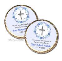 Floral Wreath Blue Christening Baptism Mint Chocolates Favours x10