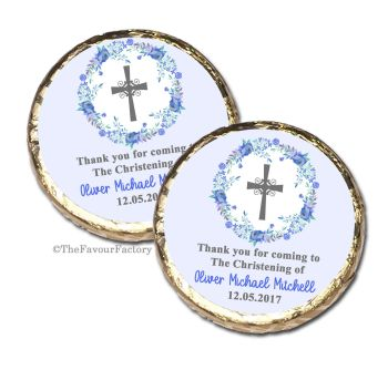 Floral Wreath Blue Christening Baptism Mint Chocolates Favours x10