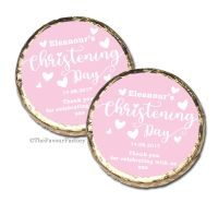 Love Hearts Pink Christening Baptism Mint Chocolates Favours x10