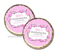 Candy Sweets Pink Christening Baptism Mint Chocolates Favours x10