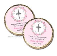 Floral Heart Pink Christening Baptism Mint Chocolates Favours x10