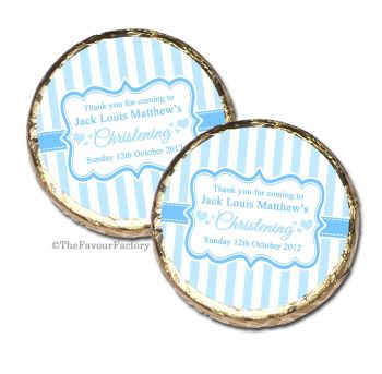 Stripes Blue Christening Baptism Mint Chocolates Favours x10