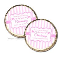 Stripes Pink Christening Baptism Mint Chocolates Favours x10