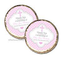 Polka Dots Cross Pink Christening Baptism Mint Chocolates Favours x10