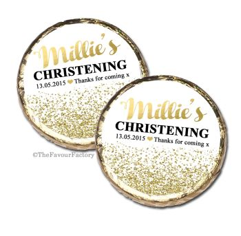 Gold Glitter Confetti Christening Baptism Mint Chocolates Favours x10