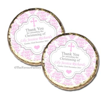 Damask Cross Pink Christening Baptism Mint Chocolates Favours x10
