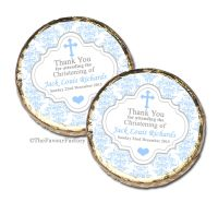 Damask Cross Blue Christening Baptism Mint Chocolates Favours x10