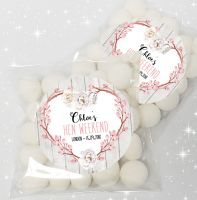Chloe Rustic Floral Heart Personalised Hen Party Sweet Bags & Stickers