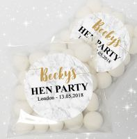 Marble Personalised Hen Party Sweet Bags & Stickers