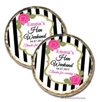 Black Stripe Roses Personalised Hen Party Mint Chocolates Party Bag Fillers x10