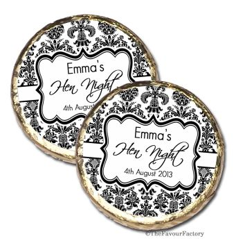 Elegant Damask Personalised Hen Party Mint Chocolates Party Bag Fillers x10