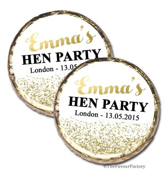 Gold Glitter Confetti Personalised Hen Party Mint Chocolates Party Bag Fillers x10
