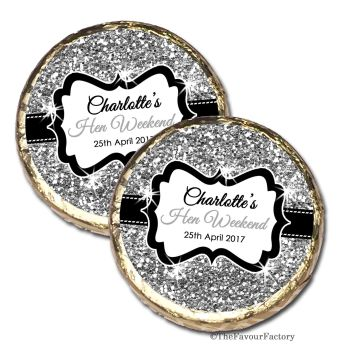 Silver Glitter Personalised Hen Party Mint Chocolates Party Bag Fillers x10