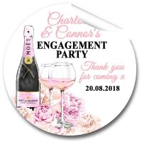 Champagne & Flowers Personalised Engagement Party Stickers 1xA4 sheet