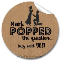 On One Knee Personalised Engagement Party Stickers 1xA4 sheet